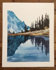 Olympic National Park, mountain lake, Lake of Angels, lake reflection . - Olympic National Park Mountain Lake Lake of the Angels Lake Reflection Pacific Northwest Cascad Art Watercolor, Watercolor Landscape Paintings, Landscape Prints, Simple Watercolor, Watercolor Animals, Watercolor Background, Watercolor Flowers, Watercolor Illustration, Landscape Edging