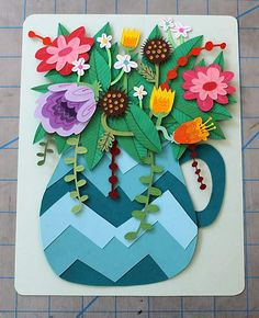 The feeling inspired by Jared Andrew Schorr's playful and charming paper cuts? Description from pinterest.com. I searched for this on bing.com/images 3d Paper Art, Paper Artwork, Diy Paper, Paper Crafts, Diy Crafts, Art For Kids, Crafts For Kids, Arts And Crafts, Origami Flowers