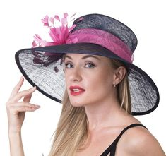 28c17a31959 Navy blue w Hot Pink 058 Kentucky Derby Hat