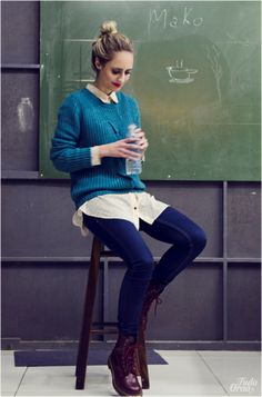 Blue Sweater and Burgundy Dr. Martens