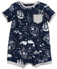 Carter's Map-Print Cotton Romper, Baby Boys (0-24 Months) - Blue 18 months