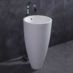 Modern Freestanding Round Matte/Glossy White Stone Resin Conical Pedestal Sink with Overflow & Drain - Bathroom Sinks - Bath & Faucets Modern Pedestal Sink, Pedestal Basin, Vessel Sink, Floor Standing Lamps, Led Floor Lamp, Free Standing Sink, Sink Faucets, Bathroom Sinks, Washroom
