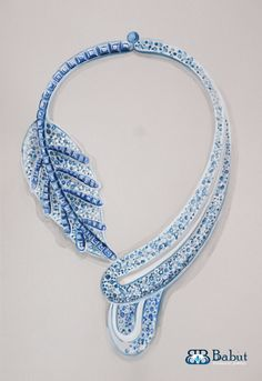 sketches design jewelry - concept ruby necklace made of 18k white gold blue