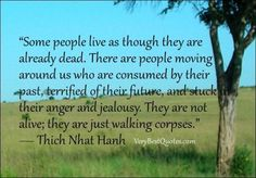 some people live as though they are already deal. there are people moving around us who are already consumed by their past, terrified of their future, and stuck in their anger and jealousy. they are not alive; they are just walking corpses.