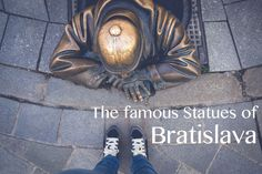 """Must-have shot from Bratislava, Slovakia: A photo with the famous """"Man at Work"""" statue! Day Trips From Vienna, Bratislava Slovakia, From Where I Stand, Famous Men, Photo Essay, Statue, Sculptures, Sculpture"""