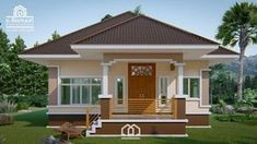 Stunning elevated three-bedroom bungalow - Pinoy House Plans Bungalow Haus Design, Bungalow House Plans, Small House Plans, Single Floor House Design, Small House Design, Floor Design, Contemporary House Plans, Contemporary Style Homes, Bungalows