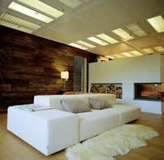 Armin Blasbichler's home in South Tyrol via Design Sponge Interior Architecture, Interior And Exterior, Interior Design, Small Sectional Sofa, Log Cabin Homes, Home And Deco, Home Remodeling, Living Spaces, Living Room