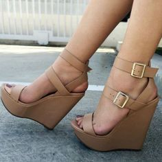 Buckles Wedge Sandals #Sandals #Heels
