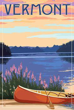 Vermont - Canoe & Lake - Lantern Press Artwork