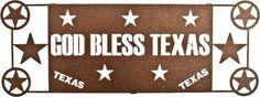 "(LZGBTX17WES) ""God Bless Texas"" Western Laser-Cut Metal Wall Art"