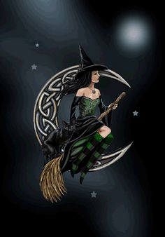 witch riding broomstick celtic knotwork moon