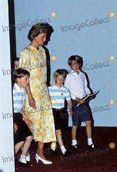 7-12-1990 Princess Diana with Her Sons William and Harry Photo By:dave Chancellor-alpha-Globe Photos, Inc 1990