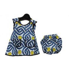 Blue & Yellow African Print Dress - Girls - Kids