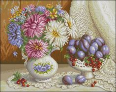 Натюрморт с астрами Cross Stitch Designs, Cross Stitch Patterns, Cross Stitch Kitchen, Flowers For You, Stitch 2, New Pins, Are You Happy, Beautiful Flowers, Decorative Bowls