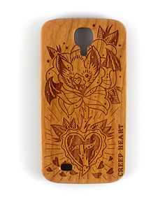 Batty Blossom Wood Phone Case for Samsung Galaxy S4.  Available online from the Creep Heart store (www.creepheart.com.au).   Artwork by Ella Mobbs.   Laser etching by Vector Etch (http://www.vectoretch.com.au/).
