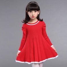 $17.17 (Buy here: https://alitems.com/g/1e8d114494ebda23ff8b16525dc3e8/?i=5&ulp=https%3A%2F%2Fwww.aliexpress.com%2Fitem%2FNew-2015-autumn-spring-children-clothing-girls-stripe-dress-long-sleeve-kids-girls-princess-dress%2F32709894777.html ) 2016 knit long sweaters little teenage girls dresses red black knitting round neck autumn winter elastic kids dresses for girls for just $17.17