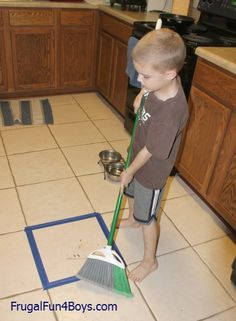 Teaching children to sweep - give them a target!