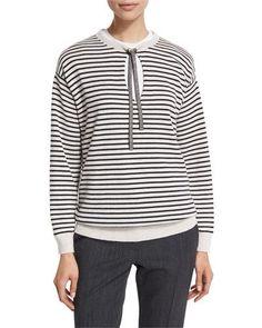 W0E0S Brunello Cucinelli Striped Wool-Blend Tie-Neck Top, White/Onyx