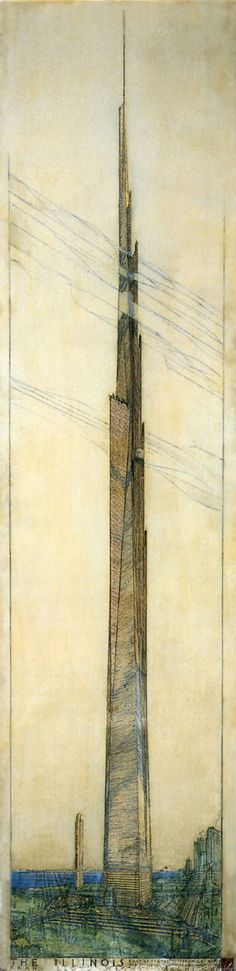 Frank Lloyd Wright - Sketch for mile-high building, 1950s