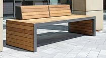 Public bench / contemporary / steel / in wood