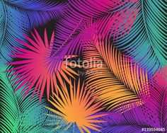 Vector: Carnival abstract colorful palm tree leaves pattern. Vector night party, tropical palm leaves frame, exotic, palm leaf, background