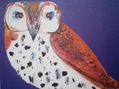 Owl, Midcentury Childrens Art, Alphabet Art, Purple and Blue, Nursery Art, O is for OWL, Vintage Children's Art, To Frame, Nursery. $10.00, via Etsy.