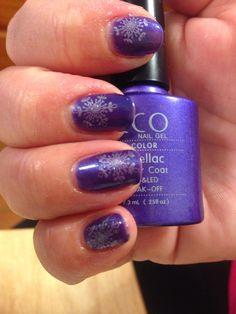 Purple purple silver stamp Chrismas Nail Art, Nail Polish, Stamp, Purple, Nails, Silver, Beauty, Finger Nails, Ongles