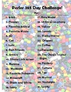 Perler Bead 365 Day Challenge Monthly Suggestions