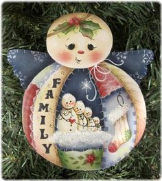 SNOWMAN Snow Angel Family - Handpainted by Pamela House