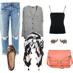 Cardigans, tanks, ballet flats, scarves and cute jeans
