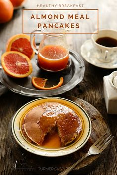 Almond meal pancakes with orange-ginger syrup