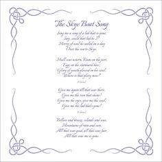Skye Boat Song greeting card with the Robert Louis Stevenson version as adapted in Outlander.