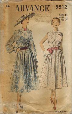 1950s Advance 5512 Vintage Sewing Pattern Misses by midvalecottage, $12.00