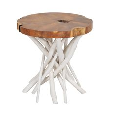 If you're looking for a conversation-starting piece for a living room or den, this round wooden side table is it. It features teak construction with a stick-style base and a round-cut wooden top for a look that is bound to get them talking.