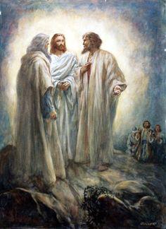 Transfiguração do Senhor. Jesus conversa com os santos profetas Elias e Moisés.
