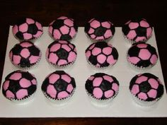 Soccer Cupcakes. If you have white cupcakes all you have to do is use black icing to make the spots..