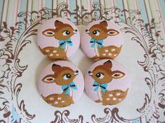 4 pink kawaii bambi deers handmade fabric covered by denuartigekat, $5.00