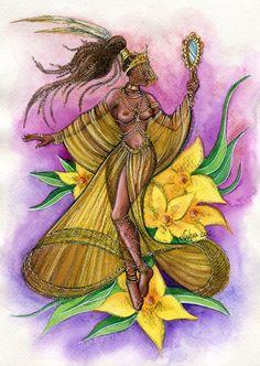 Oxum - Ochon - Oshon - Orishas - Illustration - Print from Original Painting Beautiful Dark Art, Black Love Art, Beautiful Artwork, African Mythology, African Goddess, Oshun Goddess, Goddess Art, Orishas Yoruba, Dope Cartoon Art