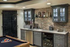 Game Room Bar Ideas Built In Wet Cabinets Modern Basement Design Wet Bar Basement, Basement Kitchenette, Basement Bar Designs, Home Bar Designs, Modern Basement, Kitchenette Ideas, Basement Finishing, Small Basement Bars, Small Basement Kitchen