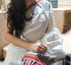 White & Black Striped Handwoven Pure Pochampally Ikkat Saree