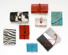made in savannah. business card cases #cowhide #blackandwhite #red #turquoise #fishskin #zebra #redandblack