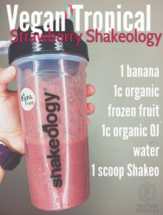 All time favorite Shakeology recipe. Works with Vegan Tropical Strawberry or Regular Strawberry Shakeology. #shakeology #healthiestmealoftheday #RenewMe