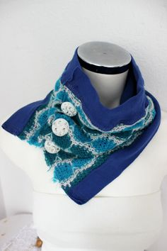 Blue chunky scarf turquoise loop scarf blue by Nazcolleccolors
