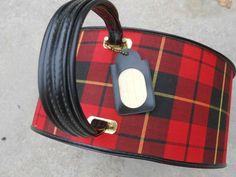 Round Plaid Suitcase Hat Box Train Case Vintage Red Wow
