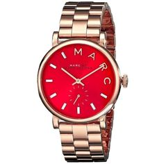 Pre-owned Marc By Marc Jacobs Rose Gold Red Dial Baker Mbm3344 (12.195 RUB) ❤ liked on Polyvore featuring jewelry, watches, accessories, rose gold, preowned watches, rose gold jewelry, red gold jewelry, preowned jewelry and rose gold watches