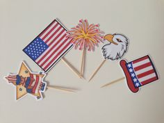 July 4th cupcake toppers by DianasDen on Etsy, $10.00