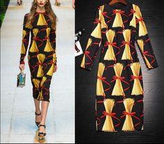 Womens Long Sleeve Printing Dress Calf Length Runway Fashon Slim Skirt Spring