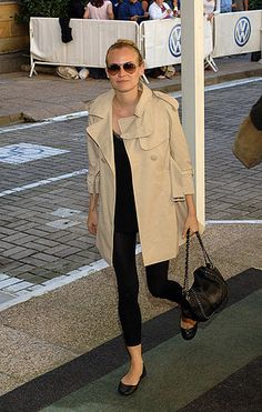 Classic Beige Trench w/ Black Leggings, Top, Bag, Ballet Flats, and Sunglasses