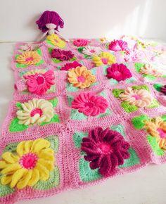 Baby Blanket Floral crochet pattern - Gerbera 3D Flower granny square - photo tutorial houseware floral blanket via Etsy
