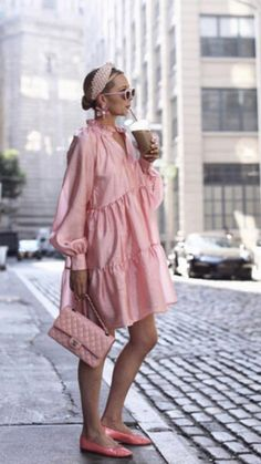 Fashion V-Neck Solid Color Casual Mini Dress - Pink Fashion, Fashion Outfits, Womens Fashion, Fashion Trends, Estilo Blogger, Summer Outfits, Summer Dresses, Mode Chic, Style Casual
